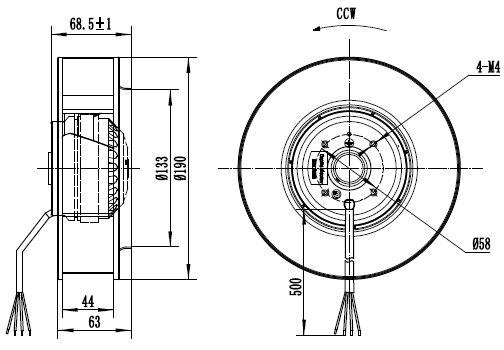 Чертеж вентилятора MES CF190B-2E-AC0