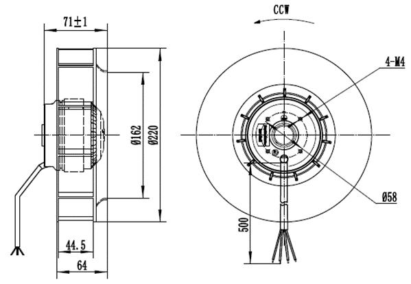 Габаритные и монтажные размеры вентилятора CF220B-2E-AC0