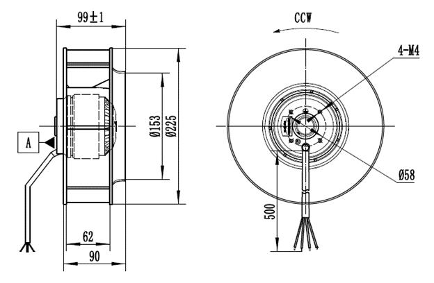 Габаритные и монтажные размеры вентилятора Габаритные и монтажные размеры вентилятора CF225B-2E-AC0