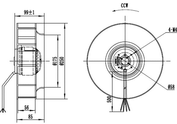 Чертеж вентилятора MES CF250B-2E-AC0
