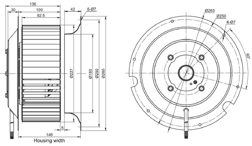 Эскиз вентилятора MES RE225F-4D-AC0