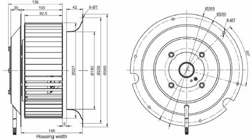 Чертеж вентилятора MES RE225F-4Е-AC0
