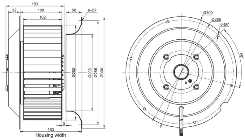 Эскиз вентилятора MES RE250F-4D-AC0