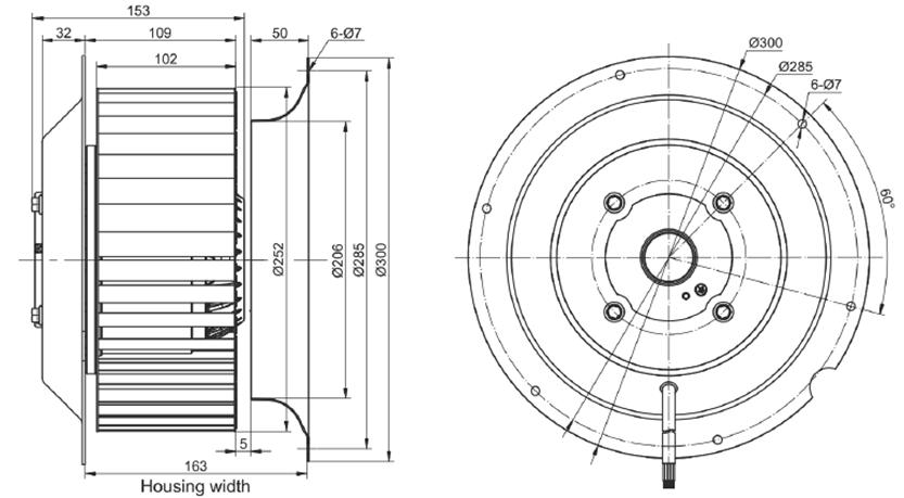 Эскиз вентилятора MES RE250F-4E-AC0
