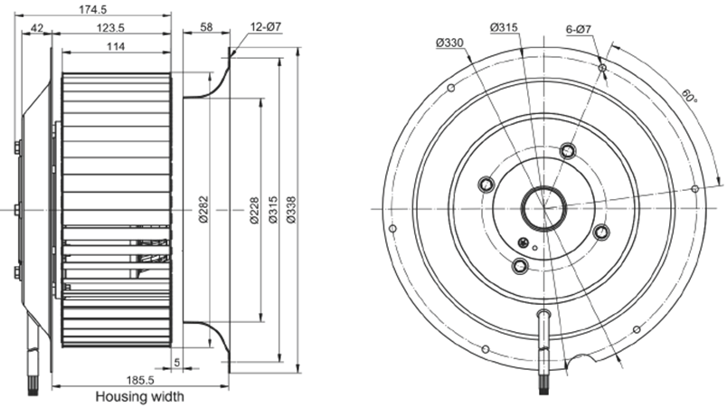 Эскиз вентилятора MES RE280F-4E-AC0